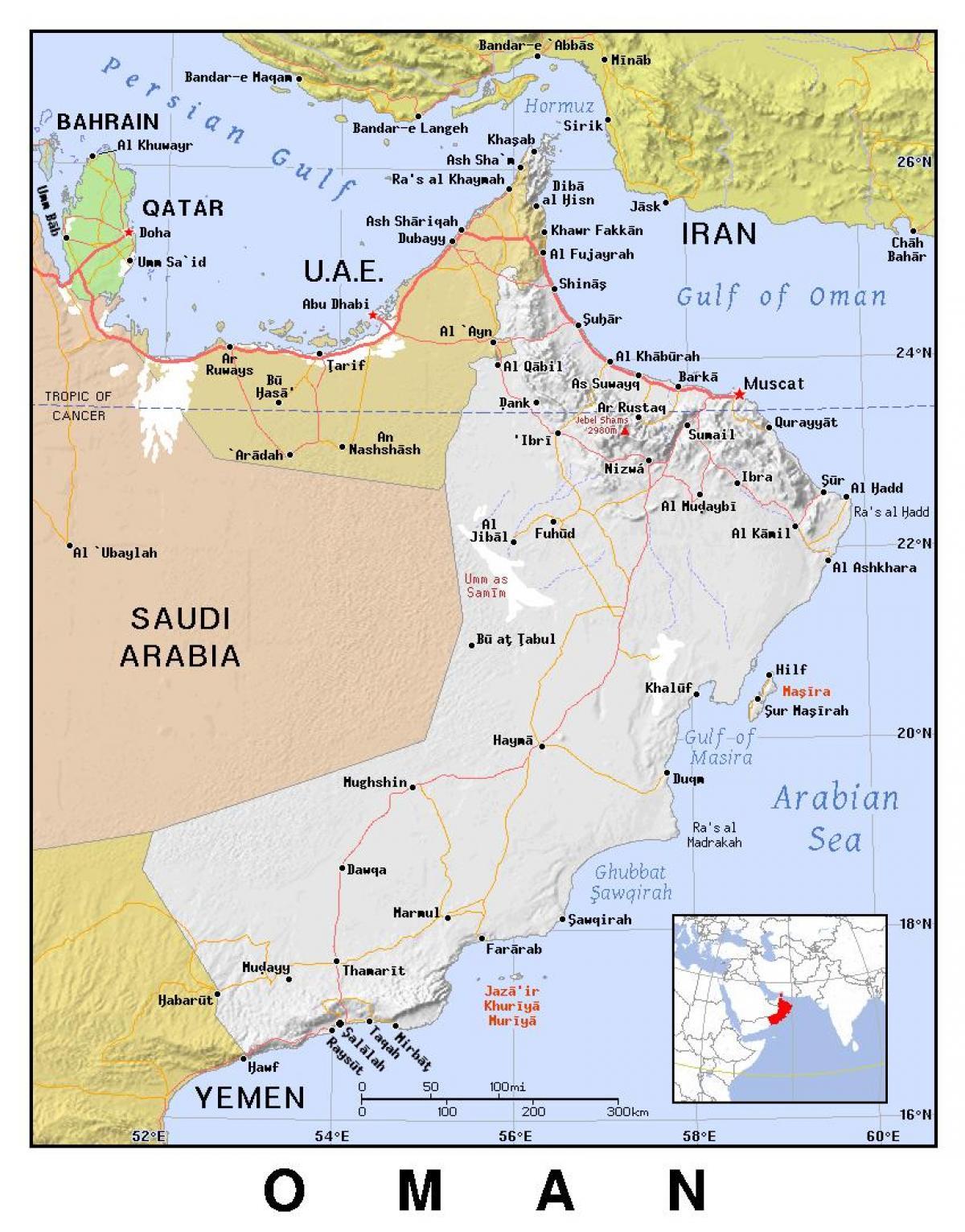 Polityczne Oman Mapa Oman Polityczny Azja Zachodnia Azja